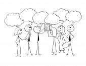 Cartoon Stick Man Drawing Conceptual Illustration Of Business Team Or Group Of Businessmen And Busin poster