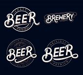 Set Of Beer And Brewery Hand Written Lettering Logos, Labels, Badges For Beer House, Brewing Company poster