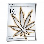 Marijuana Medical Prescription As Cannabis Prescribed By A Doctor As An Rx Note With A Leaf Burnt In poster