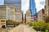 View Of Downton Chicago At The Intersaction Of Michigan Avenue With Monroe Street poster