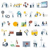 Flat Design People Concept Icons Isolated On White. Set Of Vector Illustrations For Web And App Desi poster