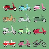 Vector Vintage Retro Bike Scooters Old Fashioned Style Motorbike. Retro Motor Reca And Street Travel poster