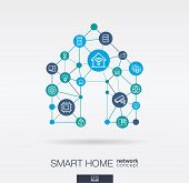 Smart Home Integrated Thin Line Web Icons. Digital Neural Network Interact Concept. Connected Graphi poster