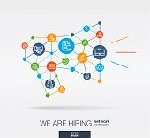 We Are Hiring, Integrated Thin Line Web Icon In Megaphone Message Shape. Digital Neural Network Inte poster