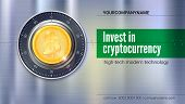Poster For Banking Services. Safe Lock With Crypto Currency Coin Of Bitcoin With Metal Surface With  poster