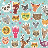 Funny Animals Seamless Pattern On Light Blue Polka Dot Background. Lion, Kangaroo, Horse, Bear, Mous poster