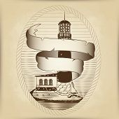 Vector Sketch Of The Lighthouse On The Shore In An Oval Frame Out Of Rope. The Curling Ribbon From T poster