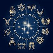 Symbols Of Zodiac And Horoscope Circle, Astrology And Mystic Signs. Vector Illustration. poster