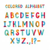 Latin Font Or Decorative English Alphabet Made Of Colorful Adhesive Tape. Set Of Bright Colored Styl poster