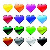 Vector love heart button icons