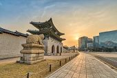 Seoul Sunrise City At Gwanghwamun Gate, Seoul, South Korea (translation : Gwanghwamun Name Of The Ga poster