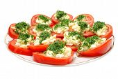 Tomatoes With Mayonnaise On Plate