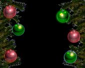 Red And Green Ornaments W/ Black Bkgrnd