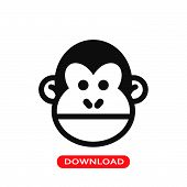 Chimp Face Icon Vector In Modern Flat Style For Web, Graphic And Mobile Design. Chimp Face Icon Vect poster