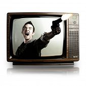 angry tv man shooting a gun, represents violence in tv programs and movies