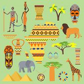 African Vector Symbols Travel Safari Icon Element Set. African Animals And People Ethnic Art South A poster