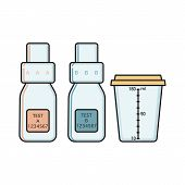 Empty Bottle A, B And Urine Sample Collection Vessel For Doping Control Procedure, Flat Vector Illus poster