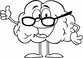 Outlined Brain Cartoon Character Giving The Thumbs Up