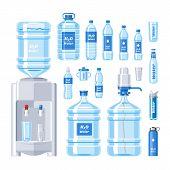 Water Bottle Vector Water Drink Liquid Aqua Bottled In Plastic Container Illustration Set Of Bottlin poster