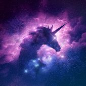 A Unicorn Silhouette In A Galaxy Nebula Cloud. Raster Illustration. poster
