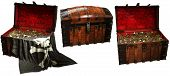 Pirate Treasure Chests With A Pirate Flag 3d Illustration poster