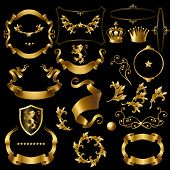 Vector Set Decorative Golden Elements, Heraldic Ornament, Ribbons, Crowns, Stars, Curls, Branches Is poster