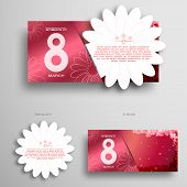 Vector Greeting Pink Envelope With Insert In The Form Of White Flower For 8 Of March - International poster