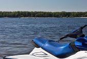 picture of waverunner  - Waverunner at the Volga river on shore background - JPG