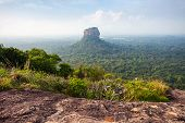 Sigiriya Rock Or Sinhagiri Or Lion Rock Aerial Panoramic View From Pidurangala Rock Near Dambulla In poster