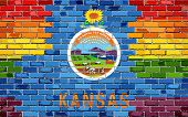 Brick Wall Kansas And Gay Flags - Illustration, Rainbow Flag On Brick Textured Background,  Abstract poster