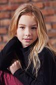 Closeup Portrait Fashion Kid Girl.closeup Portrait Fashion Kid Girl. Stylish Young Model Child Blond poster