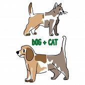 Childish Cat And Dog Animal Splice Vector Illustration. Hand Drawn Doodle Inked Pet Creature Mixture poster