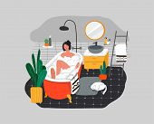 Girl Relaxes In Bath With Foam And Sleeping Cat. Daily Life And Everyday Routine Scene By Young Woma poster