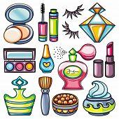 Make-up icon set part 1: face balls powder with brush, compact powder with puff and mirror, lipstick, nail polish, mascara, eye shadows and foundation, nail polish, perfume, cream, falce eyelashes