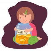 Cute Brunette Little Girl Holding The Glass Jar With Saved Money Investments For Kids Concept. Finan poster