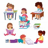 Kids Learning Education Concept. Little Girls Sitting And Boy Laying With Books. Childrens Intellect poster