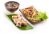 Japanese Meal - Noodles with Chicken, Dessert Fruit Maki Sushi and Miso Soup (Seaweed, Mushrooms and