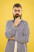 Needing A Barber To Shape The Beard. Bearded Man Thinking Of Visiting Barber. Thoughtful Hipster Tou poster