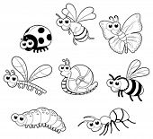 Bugs + 1 snail. Vector isolated black and white characters.