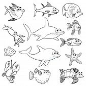 Family of funny fish. Vector isolated black and white characters.
