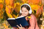 Visual And Audio Information. Schoolgirl Study. Study Every Day. Girl Read Book Autumn Day. Little C poster