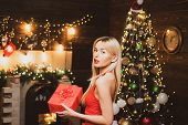 Happy Woman With Christmas Gift Over Christmas Interior Background. Girl Is Happy About The New Year poster