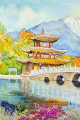 Watercolor Paintings Landmark Black Dragon Pool. poster