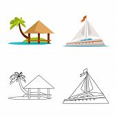 Vector Design Of Journey And Exotic Icon. Collection Of Journey And National Vector Icon For Stock. poster