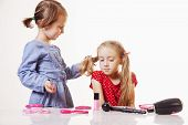 Funny Image Of Hairdressing Services. Creation Of Hairstyles Fashionable Stylish Girls Hairstyles.  poster