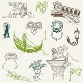 Venetië Doodles - hand getrokken - voor ontwerp en scrapbook in vector