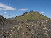 Volcanic Desert Landscape With Green Hattafell Mountain With Footpatj Of Laugavegur Trail. Fjallabak poster