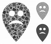 Sad Map Marker Mosaic Of Unequal Parts In Different Sizes And Shades, Based On Sad Map Marker Icon.  poster