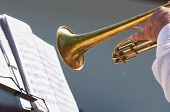 The Hand Of The Musician Plays On Trumpet