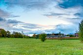 Hdr Landscape Green Meadow And Clouds In The Sky poster